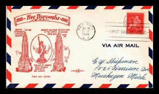 Dr Jim Stamps Us Five Boroughs York Air Mail Fdc Pent Arts Cover Scott C38