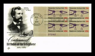 Dr Jim Stamps Us Telephone Centennial First Day Cover Plate Block Art Craft