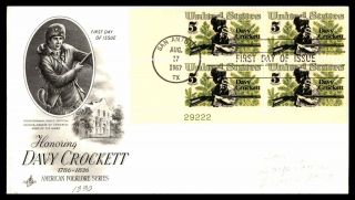 Mayfairstamps Us Fdc 1967 Davy Crockett Block Alamo Art Craft First Day Cover Ww