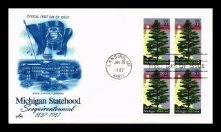 Us Cover Michigan Statehood Sesquicentennial Block Of 4 Art Craft Cachet Fdc