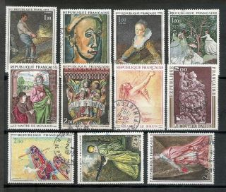 France 6 1971/73 Art And Paintings Complete Vf Postally Hcv