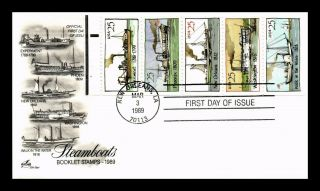 Dr Jim Stamps Us Steamboats Booklet Pane Fdc Cover Art Craft Scott 2405 - 09