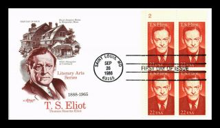Dr Jim Stamps Us T S Eliot Literary Arts Series Fdc Cover Plate Block