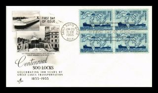 Dr Jim Stamps Us Soo Locks Centennial Fdc Cover Scott 1069 Block Art Craft