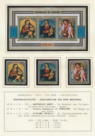 Xb71199 Burundi 1973 Madonna & Child Art Paintings Fine Lot Mnh