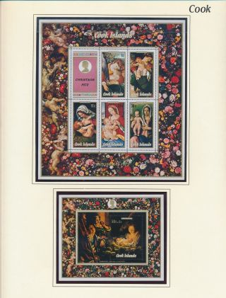 Xb71154 Cook Islands 1972 Madonna & Child Art Paintings Sheets Mnh