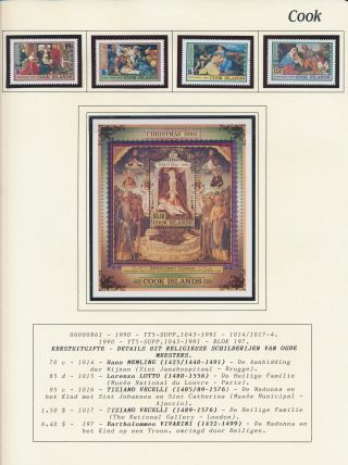 Xb71135 Cook Islands 1990 Religious Art Paintings Christmas Mnh
