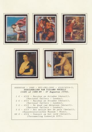 Xb70920 Paraguay 1989 Titian Art Paintings Fine Lot Mnh