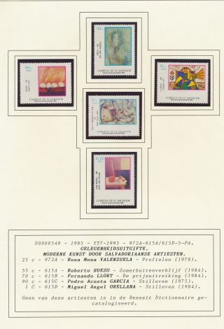 Xb70904 El Salvador 1985 Modern Art Paintings Fine Lot Mnh