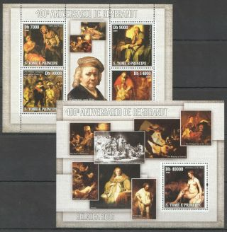 R1375 2006 S.  Tome & Principe Art Famous Paintings Rembrandt Bl,  Kb Mnh