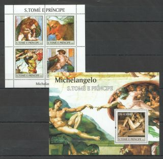 R493 2004 S.  Tome & Pricnipe Art Famous Paintings Michelangelo Bl,  Kb Mnh