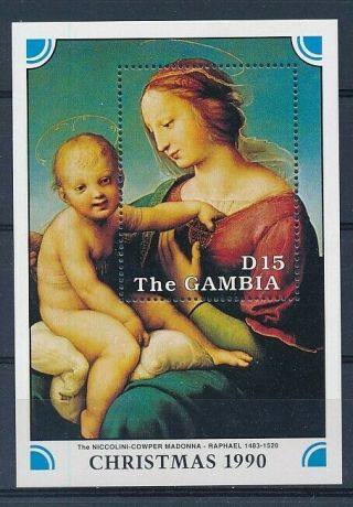D279260 Christmas 1990 Religious Art Raphael S/s Mnh Gambia