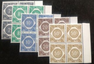 Malaysia 1966 Postage Due Stamps 5 X Blocks Of 4 Stamps To 50 Cents Mnh