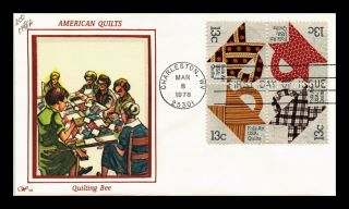 Us Cover American Quilts Folk Art Quilting Bee Fdc Setenant Western Silk Cachet