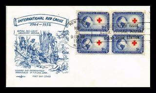 Us Cover International Red Cross Block Of 4 Fdc Pent Arts Cachet