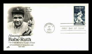 Dr Jim Stamps Us Great Bambino Babe Ruth Baseball First Day Cover Art Craft