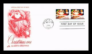 Dr Jim Stamps Us Christmas Santa Idaho First Day Cover Pair Art Craft