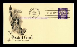 Dr Jim Stamps Us 3c Statue Of Liberty Art Craft Fdc Postal Card Philadelphia