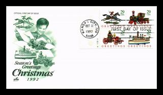Dr Jim Stamps Us Christmas Toys Block Of Four First Day Cover Art Craft