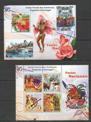 C1120 2008 Guinea - Bissau National Festivals America Spain Portugal Bl,  Kb Mnh