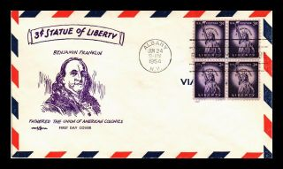 Us Cover Statue Of Liberty 3c Fdc Block Of 4 Benjamin Franklin Pent Arts Cachet