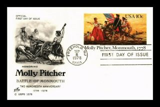 Dr Jim Stamps Us Molly Pitcher Battle Of Monmouth Fdc Postal Card Art Craft