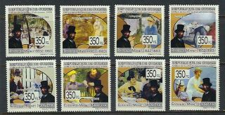 M201 Mnh 2009 Guinee Comp Set 8 Diff Museum Paintings By Artist Edouard Manet