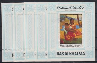 I282.  5x Ras Al Khaima - Mnh - Art - Paintings - Gauguin