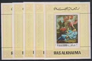 I282.  5x Ras Al Khaima - Mnh - Art - Paintings - Champaigne