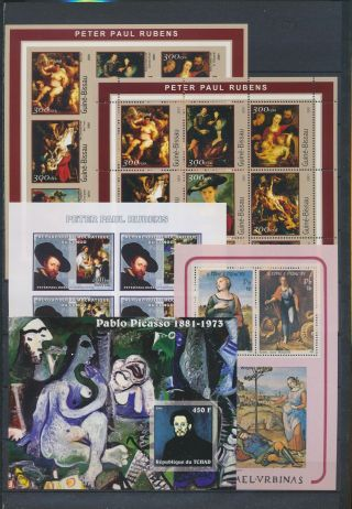 Ab1 - 2666 World Paintings Art Good Sheets Mnh