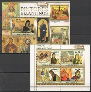 Z1386 2011 Mozambique Art Paintings Byzantine Painters Kb,  Bl Mnh