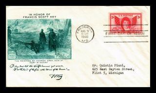 Dr Jim Stamps Us George Gray Art Francis Scott Key Fdc Cover Scott 962