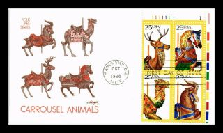 Dr Jim Stamps Us Carousel Animals Folk Art First Day Cover Block Of Four
