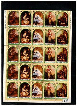 S.  T.  Principe - Mnh - Painting - Dogs,  Children - 50 Stamps - Sheet Bent