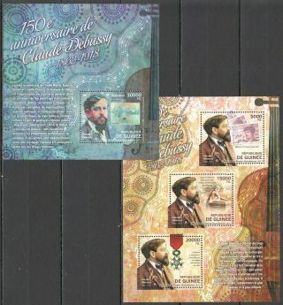 Bc073 2012 Guinea Art 150th Anniversary Composer Claude Debussy 1kb,  1bl Mnh