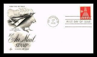 Dr Jim Stamps Us 10c Air Mail Stamp First Day Cover Art Craft San Francisco