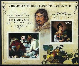 M2156 Nh 2013 Imperf Souvenir Sheet Of Museum Paintings By Le Caravage