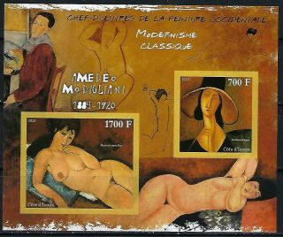 M2123 Nh 2013 Imperf Souvenir Sheet Of Paintings By A.  Modigliami Nudes