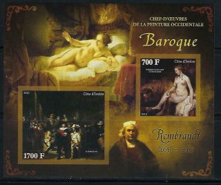 M2104 Nh 2013 Imperf Souvenir Sheet Of Paintings By Rembrandt Nudes