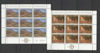 Ec002 1977 Yugoslavia Europa Cept Art Paintings Landscapes 2kb Mnh