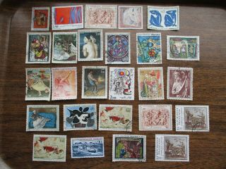 26 French Art On Stamps