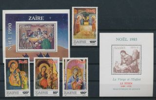 Lk59298 Zaire Religious Art Paintings Fine Lot Mnh