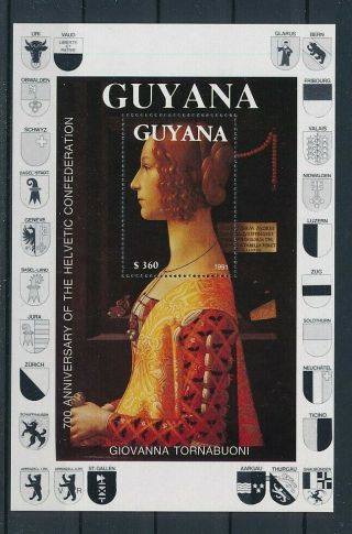 D277171 Paintings 700th Anniversary Helvetic Confederation S/s Mnh Guyana