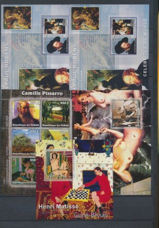 Ab3 - 2670 World Paintings Art Good Sheets Mnh