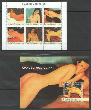 L056 2003 Guinea - Bissau Art Famous Paintings Amadeo Modigliani Bl,  Kb Mnh