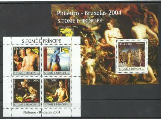 K1206 2004 S.  Tome & Pricnipe Art Paintings Delvaux Rubens Bruegel Bl,  Kb Mnh
