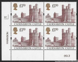 Gb 1992/95 £1.  50 Castles High Value Plate Block Of 4,  Plate 2c.  Mnh