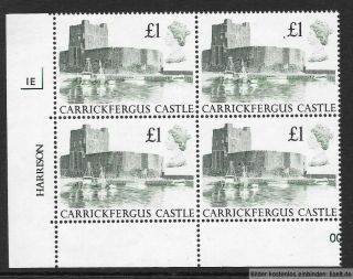 Gb 1988 £1 Castles High Value Plate Block Of 4,  Plate 1e.  Mnh