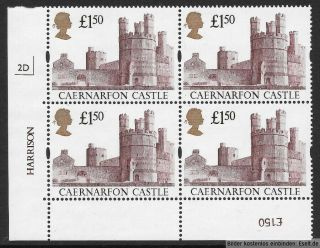 Gb 1992/95 £1.  50 Castles High Value Plate Block Of 4,  Plate 2d.  Mnh