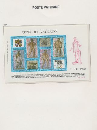 Xb66349 Vatican 1987 Mosaics Art Good Sheet Mnh
